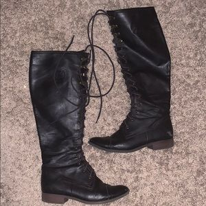 Lace knee boots
